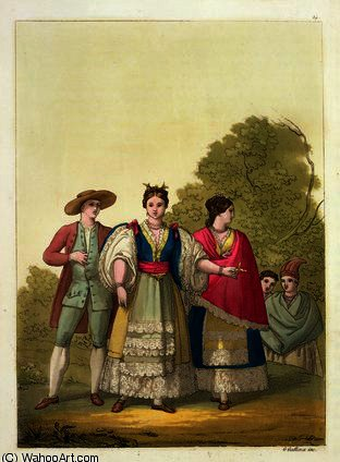 Peruvian Men and Women in Traditional Costume by Gallo Gallina (1796-1874, Italy)