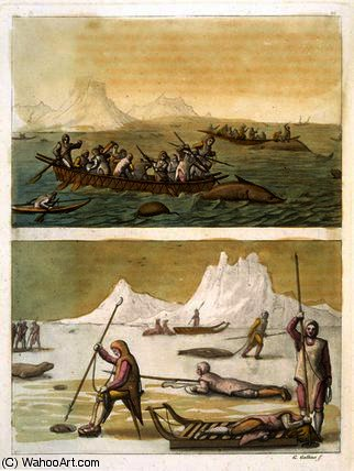 Whale fishing and Seal hunting by Gallo Gallina (1796-1874, Italy) | Oil Painting | ArtsDot.com