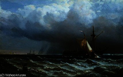 Order Reproductions | After the Storm by George Clarkson Stanfield (1793-1867, United Kingdom) | ArtsDot.com