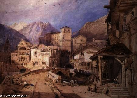 Order Paintings Reproductions | Village in the Tyrol by George Clarkson Stanfield (1793-1867, United Kingdom) | ArtsDot.com