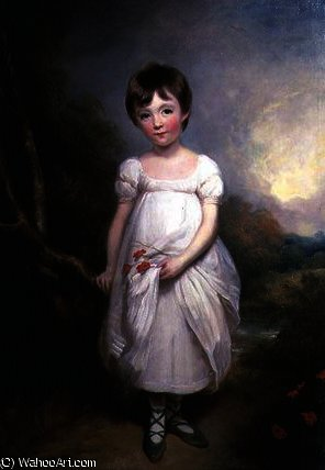 Portrait of a young girl in a white dress by George Henry Harlow (1787-1819, United Kingdom)