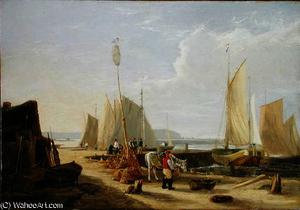 A Harbour Scene in the Isle of Wight by George Vincent (1796-1831, United Kingdom)
