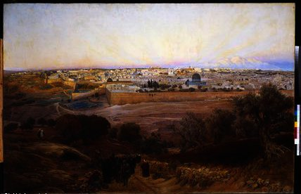 Jerusalem from the Mount of Olives by Gustav Bauernfeind (1848-1904, Germany) | Museum Art Reproductions | ArtsDot.com