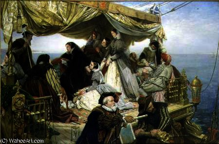 Mary Stuart's Farewell to France by Henry Nelson O'neil (1817-1880, Russia)