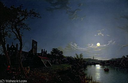 Morning with a View of Kirkstall Abbey by Henry Pether (1828-1865, United Kingdom) | Art Reproduction | ArtsDot.com