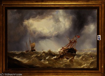 Dismasted in a Storm off the Kent Coast by Henry Redmore (1820-1887, United Kingdom) | Painting Copy | ArtsDot.com
