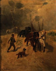 Henry Schouten - A team of horses on the b..