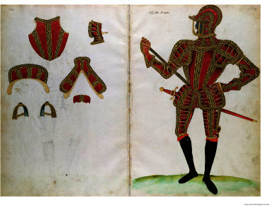 Suit of armour for lord compton from an elizabethan armourer s album by Jacobe Halder (1558-1605, United Kingdom)