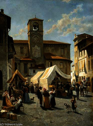 Marketday in Desanzano by Jacques François Carabain (1834-1933)