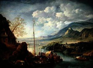 Jan Griffier - A Rhenish River Landscape with Boats in the Foreground