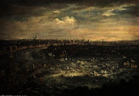 The Thames during the Great Frost of, 1740 by Jan Griffier (1652-1718, Netherlands) | Art Reproduction | ArtsDot.com