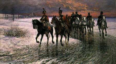 An Escort of the 4th French Hussars by Jan Van Chelminski (1851-1925, Poland)