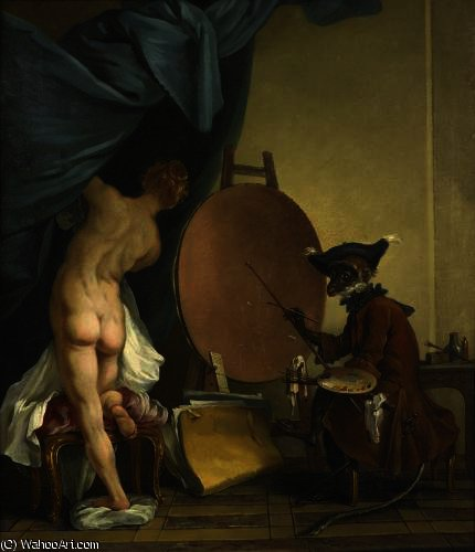 The monkey painter by Jean Baptiste Deshays (1729-1765, France)