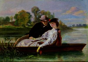 John Bagnold Burgess - Lovers in a Punt