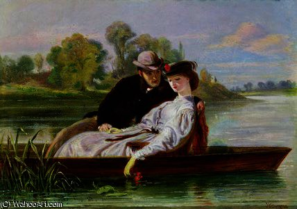 Lovers in a Punt by John Bagnold Burgess (1829-1897, United Kingdom)