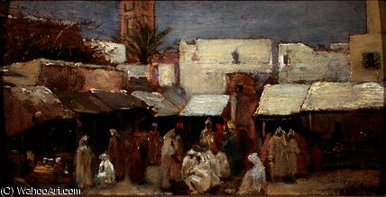 Market place, tangiers by John Bagnold Burgess (1829-1897, United Kingdom)