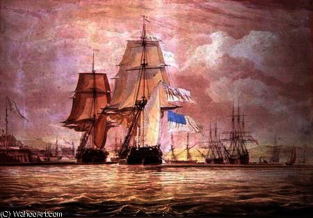 HMS 'Shannon' leading the 'Chesapeake' into Halifax Harbour by John Christian Schetky (1778-1874, United Kingdom)
