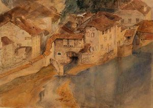 John Ruskin - View of Fribourg, Switzerland