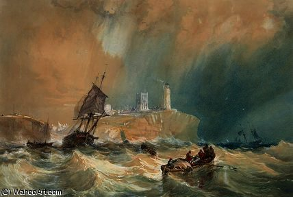 A trading brig running out of Tynemouth by John Wilson Carmichael (1800-1868, United Kingdom)