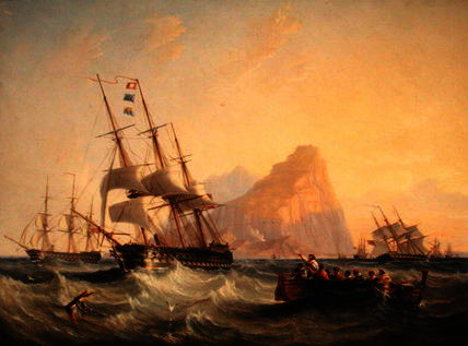 Warships Under Sail at Gibraltar by John Wilson Carmichael (1800-1868, United Kingdom)