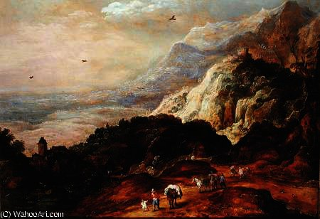 A Mountainous Landscape with Figures and Mules by Joos De Momper The Younger (1564-1635) | Art Reproductions Joos De Momper The Younger | ArtsDot.com