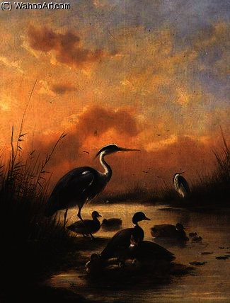 A family of Mallard and two Herons by Joseph Augustus Knip (1777-1847, Netherlands) | Museum Quality Reproductions | ArtsDot.com