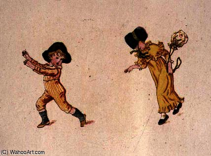 Playing baby by Kate Greenaway (1846-1901, United Kingdom)