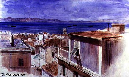 Gibraltar with the coast of Spain beyond by Keeley Halswelle (1832-1891, United Kingdom) | Art Reproduction | ArtsDot.com