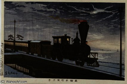A Steam Locomotive in Hazy Moonlight by Kobayashi Kiyochika (1847-1915, Japan) | Museum Quality Reproductions | ArtsDot.com