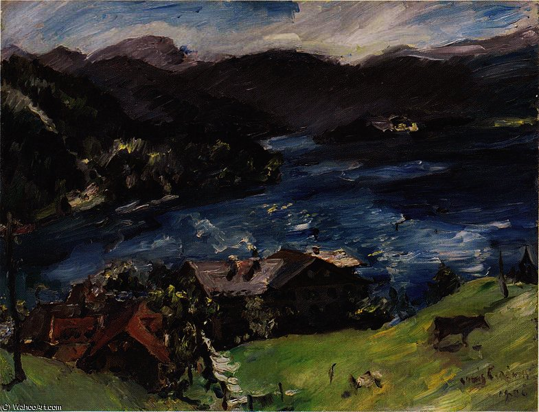 Walchensee, Landscape with cattle by Lovis Corinth (Franz Heinrich Louis) (1858-1925, Netherlands)