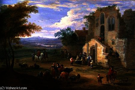 Villagers Conversing by a Ruined Church by Mathys Schoevaerdts (1665-1710, Belgium)