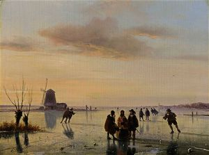 Nicolaas Johannes Roosenboom - A winter landscape with figures on the ice