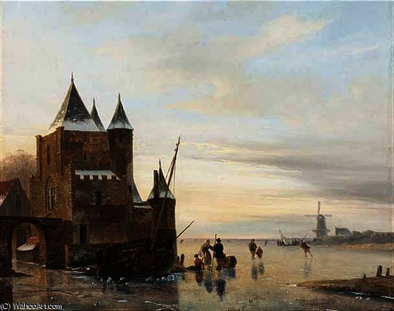 A winter landscape with skaters on a frozen river, a `koek and zopie` beyond by Nicolaas Johannes Roosenboom (1805-1880, Netherlands) | Museum Art Reproductions | ArtsDot.com