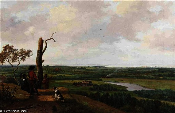 Enjoying the panoramic view by Nicolaas Johannes Roosenboom (1805-1880, Netherlands) | Art Reproduction | ArtsDot.com