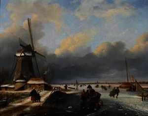 Nicolaas Johannes Roosenboom - Skaters on a frozen river