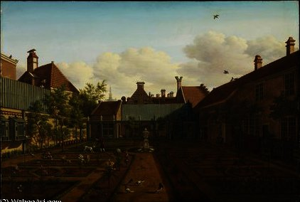 View of a town house garden in The Hague,, 1775 by Paulus Constantin La Fargue (1729-1782, Netherlands)