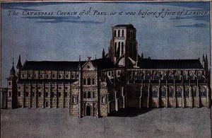 Robert Morden - St. Paul-s Cathedral before it was destroyed by the Fire of London from -A Book of the Prospects ofe