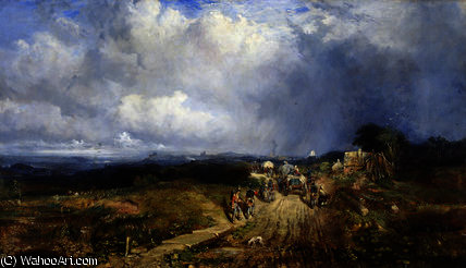 Baggage wagons approaching carlisle by Samuel Bough (1822-1878, United Kingdom)