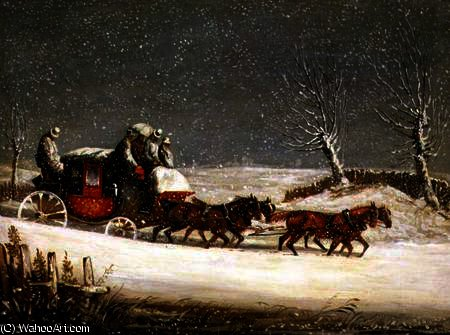 The Royal Mail in Deep Snow by Samuel Henry Gordon Alken (1810-1894, United Kingdom) | Museum Art Reproductions | ArtsDot.com