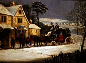 Samuel Henry Gordon Alken - Winter Scene with the Royal Mail Halted at an Inn