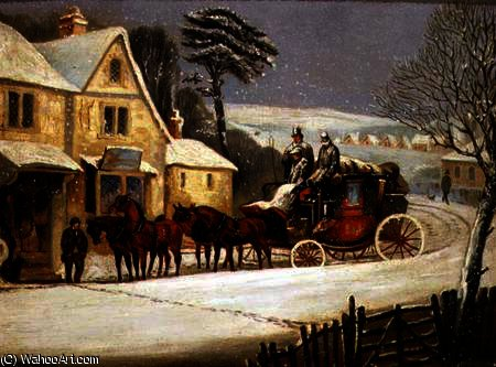Winter Scene with the Royal Mail Halted at an Inn by Samuel Henry Gordon Alken (1810-1894, United Kingdom) | Museum Quality Reproductions | ArtsDot.com
