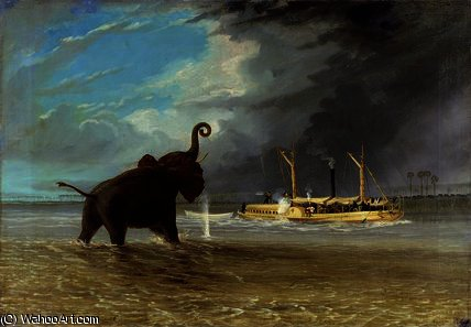 Ma Robert and Elephants by Thomas Baines (1820-1875, United Kingdom)