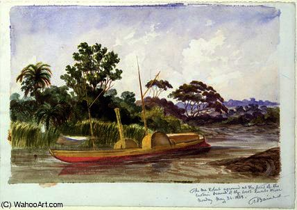 The 'Ma Robert', Livingstone's boat by Thomas Baines (1820-1875, United Kingdom)
