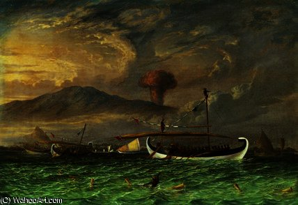 Volcano and fishing proas near Passoeroean by Thomas Baines (1820-1875, United Kingdom)