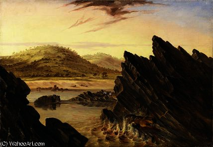 Wounded hippopotamus above Kebrabasa by Thomas Baines (1820-1875, United Kingdom)