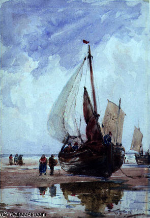 A beached fishing smack by Thomas Bush Hardy (1842-1897, United Kingdom)