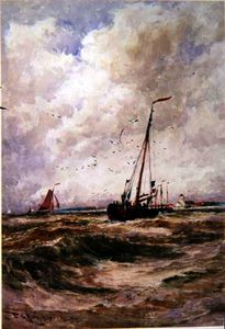 Thomas Bush Hardy - Fishing boats off katwick