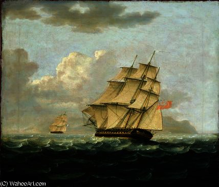 A British Frigate in Pursuit of a French Frigate by Thomas Buttersworth (1768-1842, United Kingdom)