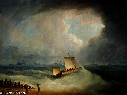 A Deal Lugger Going off to a Storm-bound Ship by Thomas Buttersworth (1768-1842, United Kingdom)