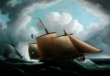 A french lugger pursued by Thomas Buttersworth (1768-1842, United Kingdom)